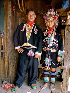 Akha couple in traditional dress.