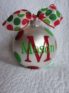 Personalized Christmas Ornament - Red and Lime Green Dots. $14.00, via Etsy.