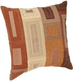 Brentwood Originals Squares and Rectangles 18-Inch Knife Edge Pillow,