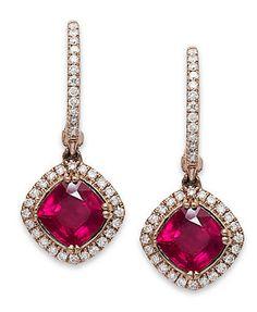 Rosa by EFFY 14k Rose Gold Earrings, Ruby (2-7/8 ct. t.w.) and Diamond (3/8 ct. t.w.) Drop Earrings