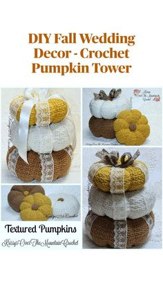 Crochet these large textured pumpkins, then stack them together to make a gorgeous pumpkin tower that can be used in the foyer or as table decorations at a fall wedding. Crochet Fall Decor, Crochet Decoration, Crochet Crafts, Crochet Dolls, Crochet Yarn, Crochet Projects, Crochet Frog, Crochet Daisy, Crochet Ideas