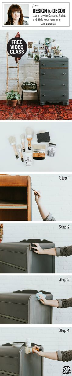 Free video class! Ever wanted to paint your own furniture but aren't sure where to start? Learn everything you need to know in our new free class tutorial, From Design to Decor: Learn how to Concept, Paint & Style Your Furniture with DIY furniture maven Barb Blair! Plus, download the accompanying free eBook featuring FolkArt Home Decor Chalk.
