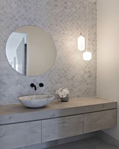 Nordic Scandi Style Powder Room with light grey mosaic tiles, round mirror and glass pendant lights - The Powder Room is the perfect space to raise the bar and make a statement. It's the one bathroom - Bathroom Trends, Diy Bathroom Decor, Bathroom Interior Design, Modern Bathroom, Small Bathroom, Carrara Marble Bathroom, Light Grey Bathrooms, Concrete Bathroom, Ensuite Bathrooms