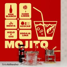 The mojito is a popular cocktail composed of white rum, sugar, lemon juice, mint, ice and a slice of lime Restaurants, Kitchen Wall Decals, Top Sales, Decoration, Wall Stickers, Cocktails, Diy, Gifts, Ideas