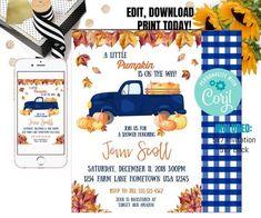Editable Pumpkin, Truck Invitation, Pumpkin Invitation, Fall Baby Shower, Drive By Baby Shower Invitation, Drive Through Baby Shower Invite