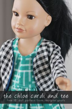 sewing: the chloe cardi and tee {free 18 doll shirt pattern sew: the chloe cardi and tee {free doll shirt pattern} Sewing Doll Clothes, American Doll Clothes, Sewing Dolls, Ag Dolls, Girl Dolls, American Dolls, Diy Clothes, Doll Dress Patterns, Sewing Patterns For Kids