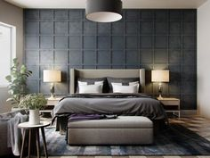 Bedroom : Grey Wallpaper Bedroom Textured In Squares Chequered With Pendant Light Also Beautiful Plant Alluring Shade Of Grey Bedrooms Grey Bedroom Curtains' Grey Bedroom Set' Grey Bedroom Decor plus Bedrooms Grey Bedroom Design, Modern Bedroom Decor, Gray Bedroom, Home Bedroom, Bedroom Designs, Bed Designs, Master Bedrooms, Trendy Bedroom, Modern Bedrooms