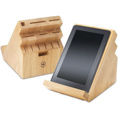 knife block tablet stand - attach a j channel strip to the back of our knife block. SMART