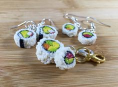Sushi roll polymer clay earrings and charms
