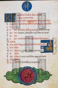 BL Add. 50002, f.5 Calendar page for May. At top, Gemini; on right, Mercury with a caduceus, his car drawn by two doves; at foot, a youth on horseback, hawking Image taken from Mirandola Hours. Originally published/produced in Italy, circa 1490-1499.