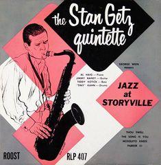 """Stan Getz: Jazz at Storyville Label: Roost 407 10"""" LP 1952 Design: Burt Goldblatt"""