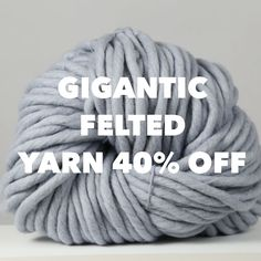 We have limited stock of our Gigantic Felted yarn on SALE today. Its live for the next 48 hours and Giant Knitting, Arm Knitting, Chunky Blanket, Blanket Yarn, Wool Art, Chunky Wool, Couture, Garter Stitch, Knitted Blankets