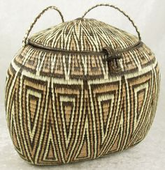Panama Rainforest Purse Basket Wounaan Indian Geometric 7-1/2 x 6 x 7-1/4in