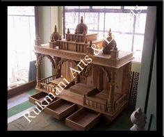Wood Temple Designs for Home Mandap Design, Temple Design For Home, Pooja Room Door Design, Meditation Altar, Wood Carving Art, Pooja Rooms, Teak Furniture, Room Doors, Teak Wood