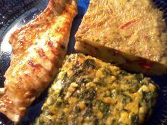 Pechuga de Pollo a la plancha con Tortilla de Espinaca y Tortilla de Morrón.