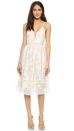 Saylor Phoebe Bardot Embroidery Dress |  Baroque embroidery adds charm to this shoulder-baring Saylor dress. Split neckline. Slim shoulder straps. Scalloped crochet trim at the hem. #white