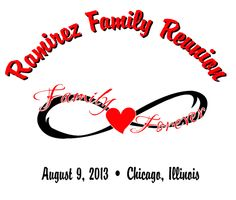 Customizable Infinity T-Shirt Design from Reunion King.  Great for a family reunion!