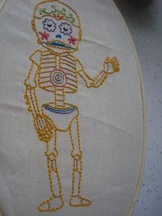 Day of the Droid, embroidered by Ichi Ni San 123 based on print by Jose Pulido Craft Tutorials, Craft Projects, Craft Ideas, Cross Stitch Embroidery, Embroidery Patterns, Fine Art Textiles, Sweet Charity, Star Wars Girls, Textile Texture