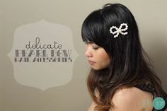 DIY Delicate Pearl Bow Hair Accessories @ mintedstrawberry.blogspot.com