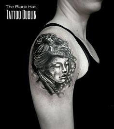 a90500acda265 Another stunning woman head neo traditional done by Sergy. The Black Hat  Tattoo Dublin