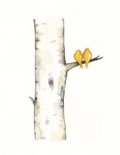 Yellow Birch Tree Love No. 3 / Love Birds / Romance / watercolor print / grey / black and white and yellow / Archival via Etsy