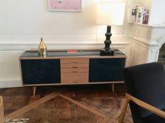 enfilade scandinave style années 50 50s fifties appartement red edition buffet bois et bleu lacqué décoration intérieur