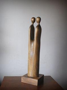 Lovers modern wood sculpture unique hand carved wood by elaarte