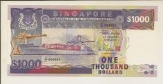 """Singapore banknotes 1000 Dollars banknote Ship Series - Container ship """"Neptune Garnet"""" Singapore Dollar, Thousand Dollars, Money Notes, My Pocket, Red Dots, Vintage World Maps, Neptune, Coins, Banknote"""