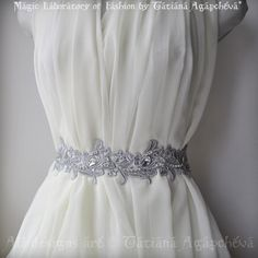 Sash, Belt, CYBER MONDAY, Reg. 245 Luxury Wedding /Fleur De Lis French Lily/,Silver Venice Lace, Rhinestones, Crystals 2012,Ready to Ship. $220.00, via Etsy.