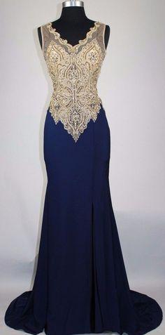 Dark Navy Beading Mermaid Prom Dress,Long Prom Dresses,Charming Prom