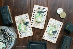 Riikka Kovasin - Paperiliitin: Keys to the wine cellar - Sizzix Finnabair Mixed Media, Sizzix Dies, Prima Marketing, Artist Trading Cards, Deck Of Cards, Wine Cellar, Tim Holtz, Halloween Themes, Atc