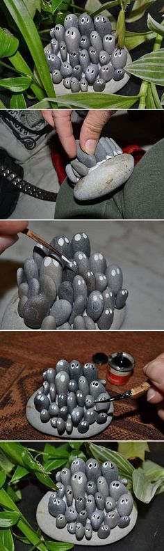 DIY Garden Trinkets – Awesome Ideas, Projects and Tutorials! Including, from & DIY Garden Trinkets – Awesome Ideas, Projects and Tutorials! Including, from & this creative & thing& project with rocks. Stone Crafts, Rock Crafts, Fun Crafts, Crafts For Kids, Crafts With Rocks, Garden Crafts, Garden Projects, Diy Projects, Project Ideas