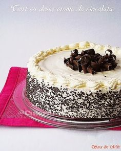 » Tort cu doua creme de ciocolata (ganache)Culorile din Farfurie Romanian Desserts, Cookie Desserts, Something Sweet, Tiramisu, Baking Recipes, Sweet Treats, Cheesecake, Ice Cream, Sweets