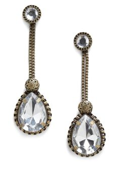 Bronze chains holding these oversized tear drop rhinestone earrings {Atop the Jewelry Box Earrings}