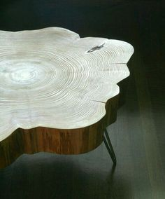 Live edge coffee table. Look at the growth rings. One old tree. Creative, DIY, rustic look.