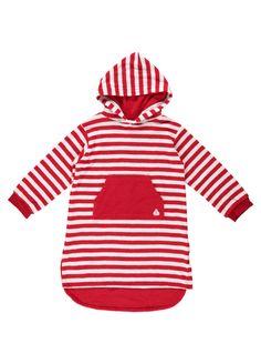 c33f42bc2bee9 Red And White Stripe Long Hooded Towelling Top by Mitty James Kids Beachwear