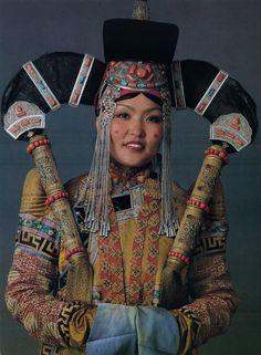 Clothes of a Khalka bird women. National Museum of Mongolia, Ulan Bator