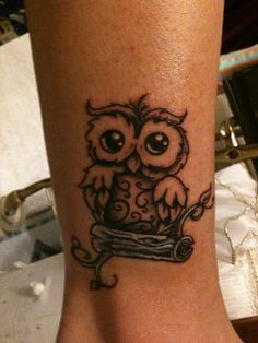 Little owl outline tattoo - photo#34