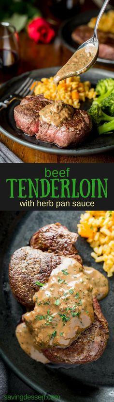 Tender and juicy Beef Tenderloin Steaks with Herb Pan Sauce