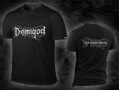 "DEMIGOD ""let chaos prevail / logo"", deep black T-Shirt, white discharge print"