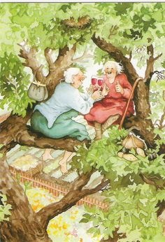 """""""Finnish illustrator Inge Look has created her two hilarious grannies, painted frequently in absurd but funny situations. Old Folks, Image Originale, Look Older, Whimsical Art, Oeuvre D'art, Old Women, Old Ladies, Lucky Ladies, Illustrators"""