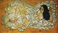 The Reclining Woman, 1917 - by Egon Schiele (1890 – 1918), Austrian