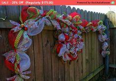SALE - Custom Garland, Deco Mesh Christmas Set, Handmade Deco Mesh garland and matching door wreath. Front door decor, Design yours today!