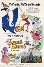 The Sword in the Stone, like Robin Hood, was one of my favorite Disney movies for very similar reasons even though King Arthur probably had a lodge not a castle like Robin Hood was a composite of several rogues in red hoods.