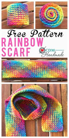 Rainbow Scarf – FREE Crochet Pattern using Planned Pooling – CDM Handmade - Stola Stricken Crochet Kids Scarf, Crochet Beanie, Crochet Scarves, Crochet Shawl, Crochet Yarn, Crochet Stitches, Free Crochet, Crochet Patterns, Scarf Patterns