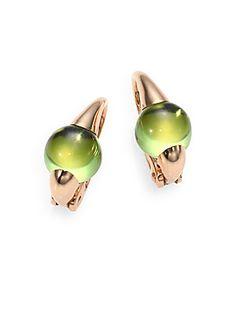 Pomellato Peridot & 18K Rose Gold Cabochon Earrings