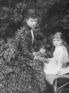 Empress Maria Feodorovna and her daughter Grand Duchess Olga Alexandrovna 1889.  Nicholas' mother and sister.