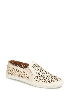 the perfect ivory perforated slip on sneakers