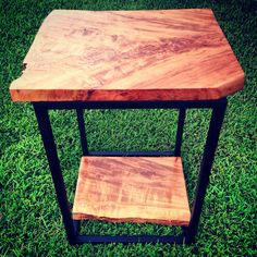 Lychee and steel end table. Made by 5&2 Woodworks.