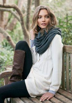 long sleeved gray tee underneath a gauzy white top + leggings duh + scarf & boots - also love the hair
